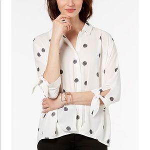Alfani Polka-Dot Tie-Cuff Blouse White & Black XL